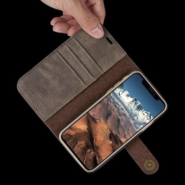 iPhone X/Xs - DG.MING Plånboksfodral/Magnet Skal - Grå