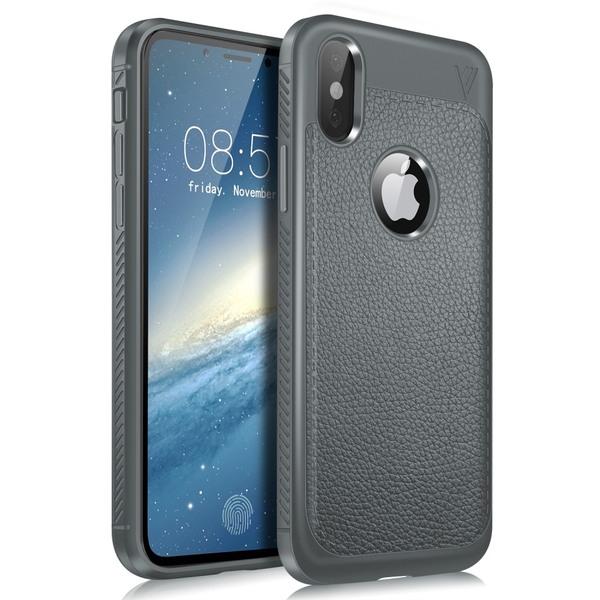 iPhone X/Xs - LENUO Litchi Skal - Grå