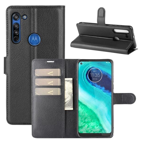 Motorola Moto G8 - Litchi Plånboksfodral - Svart
