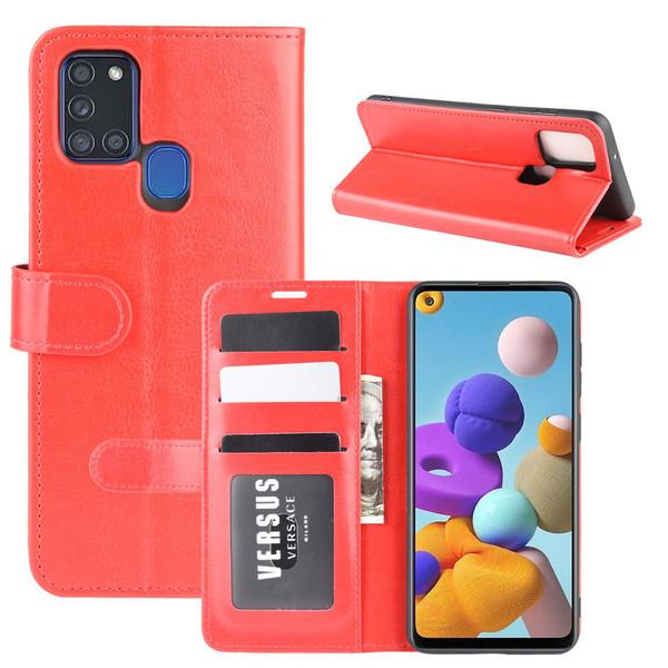 Samsung Galaxy A21s - Crazy Horse Plånboksfodral - Röd