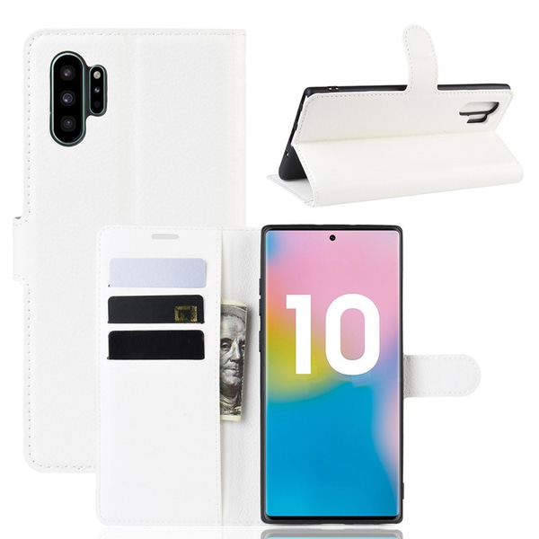 Samsung Galaxy Note 10 Plus - Litchi Plånboksfodral - Vit