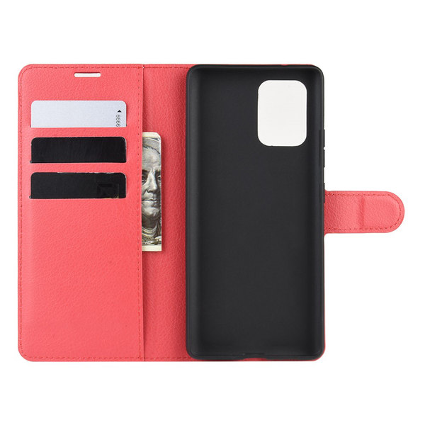 Samsung Galaxy S10 Lite - Litchi Plånboksfodral - Röd
