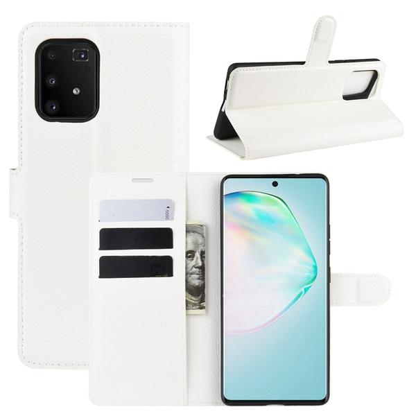 Samsung Galaxy S10 Lite - Litchi Plånboksfodral - Vit