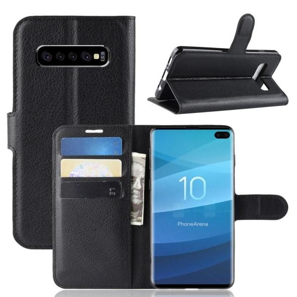 Samsung Galaxy S10 Plus - Litchi Plånboksfodral - Svart Black Svart