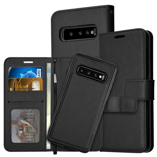 Samsung Galaxy S10 Plus - Plånboksfodral / Magnet Skal 2 in 1 -  Black Svart