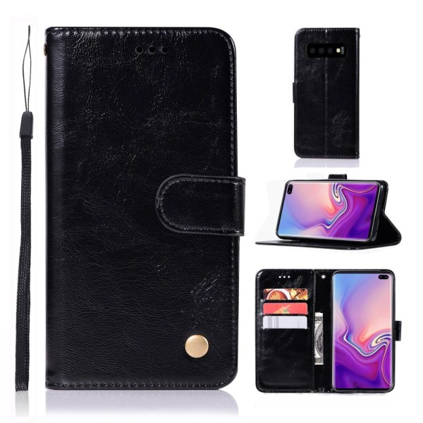 Samsung Galaxy S10 Plus - Plånboksfodral Vintage - Svart Black Svart