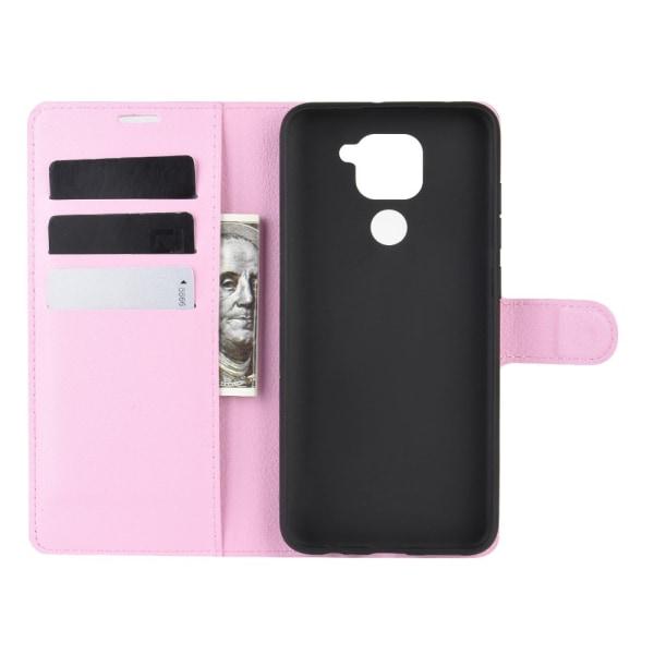 Xiaomi Redmi Note 9 - Litchi Plånboksfodral - Ljus Rosa