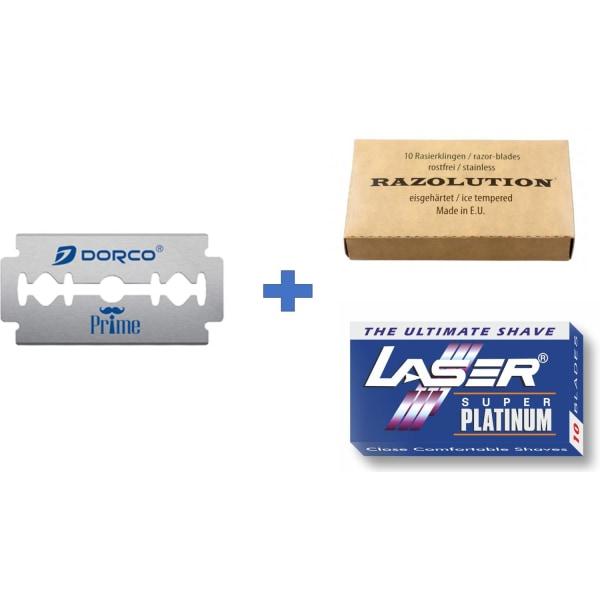 25st Rakblad Dubbelrakblad Dorco + Razolution + Laser Silver