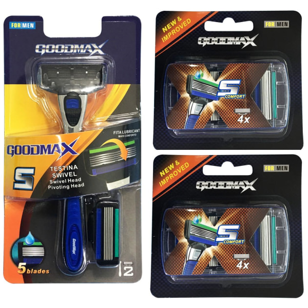 Rakhyvel  + 10x rakblad för män, killar Goodmax5  Blå