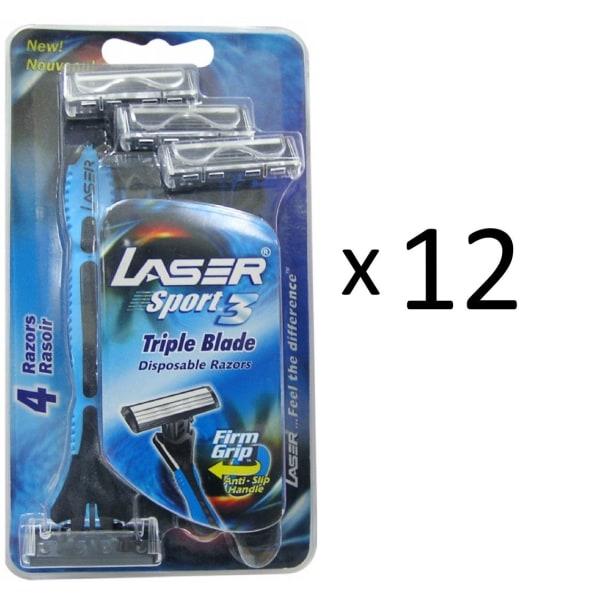 Rakhyvel 48-pack Laser Sport, 3-bladig hyvel för män, killar