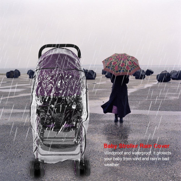 Windproof Baby Buggy Stroller Rain Cover Transparent Pushcha