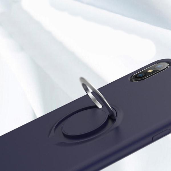iPhone XS MAX silikon mikrofiber skal med ringhållare Svart