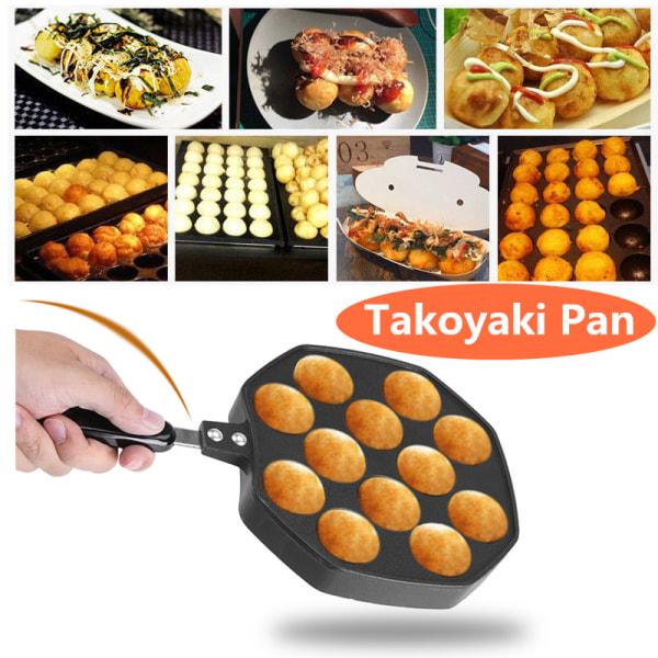 12 Cavities Aluminum Non-stick Takoyaki Grill Pan Plate Octo