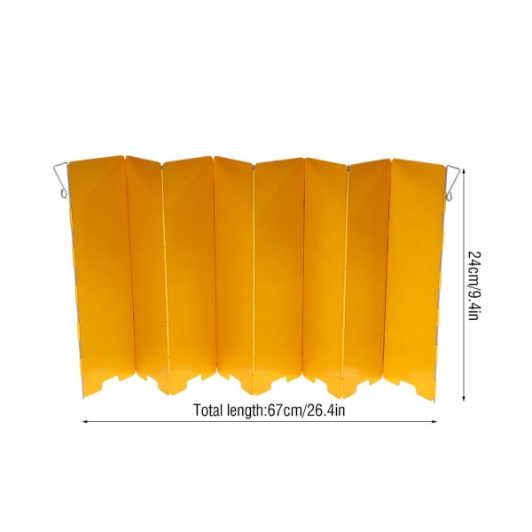 8 Plate Foldable Stove Windshield Outdoor Camping Accessory  yellow