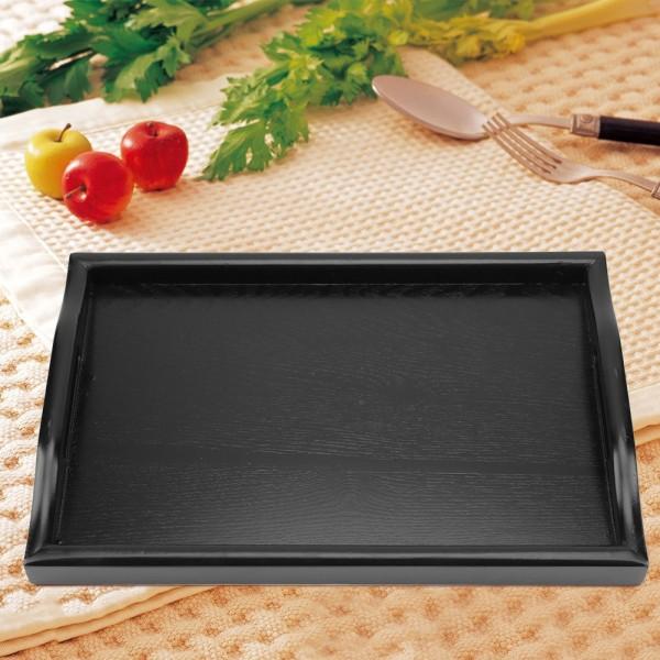 Portable Binaural Rectangle Shape Solid Wood Tea Coffee Snac black
