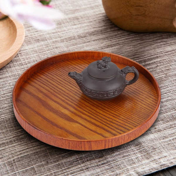 Round Natural Wood Serving Tray Wooden Plate Tea Food Server 直径24CM