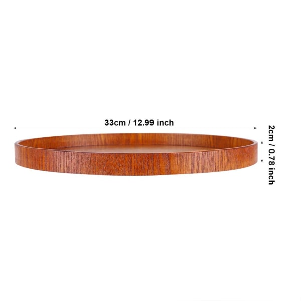 Round Natural Wood Serving Tray Wooden Plate Tea Food Server 直径33cm