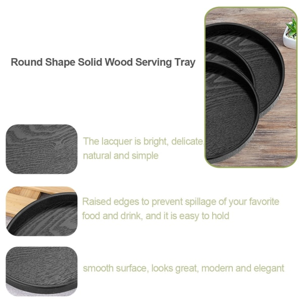 Round Shape Solid Wood Tea Coffee Snack Food Meals Serving T 21cm