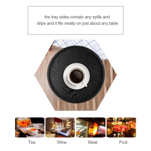 Round Shape Solid Wood Tea Coffee Snack Food Meals Serving T 27cm