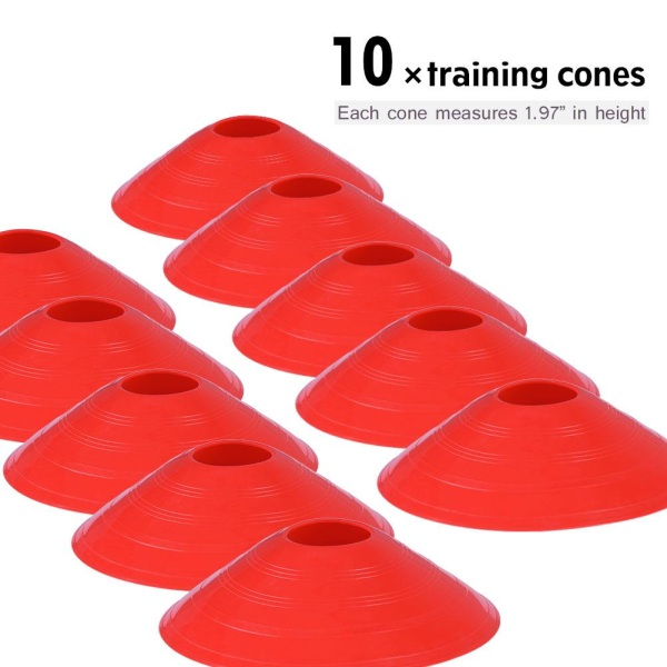 Speed Agility Train Kit, 19Ft Flat Ladder + 10pcs Disc Cones 1个训梯子(红色)+ 10个足球角标(圆口红色)+1个置物架