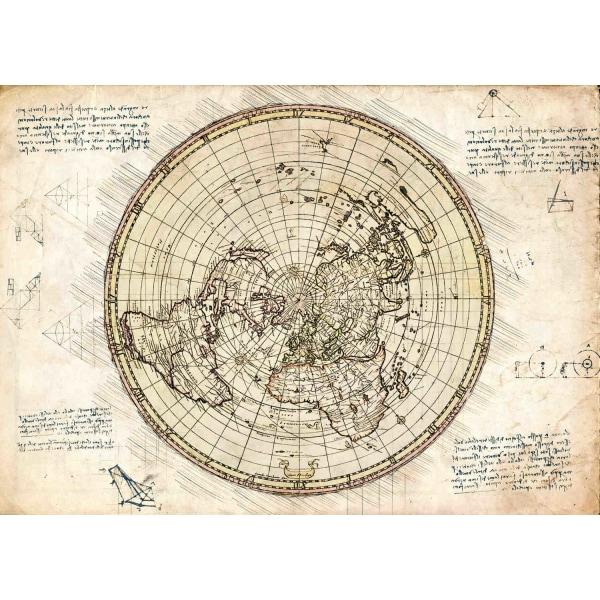 A3 Print - Map - Flat earth - Karta multifärg