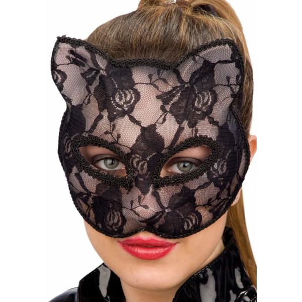 Ansiktsmask - Black cat lace mask