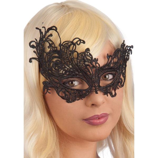 Ansiktsmask - Mask in black Fabric Macrame multifärg