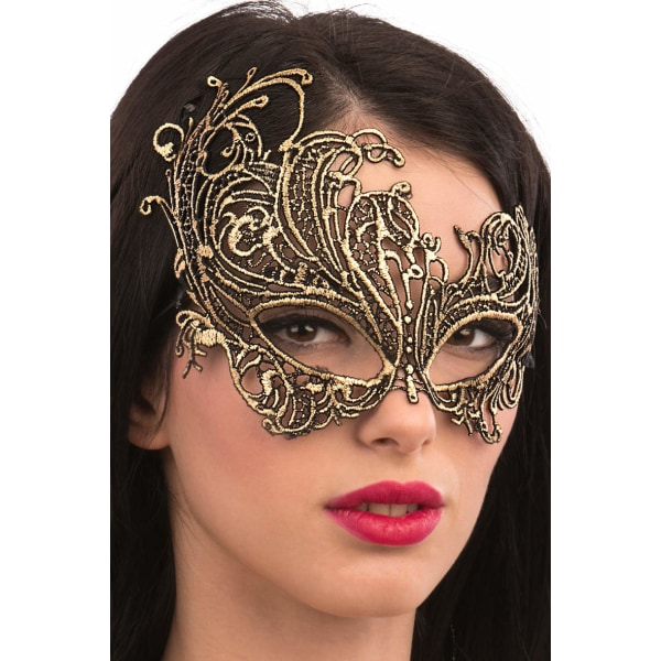 Ansiktsmask - Mask in gold Fabric Macrame MultiColor