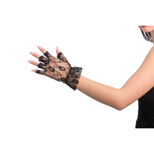 Black lace gloves without fingers 24 cm MultiColor