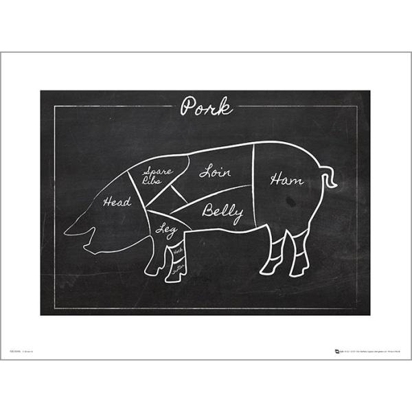 Exklusivt Art Print - Black board Pork - Styckning gris - Text multifärg