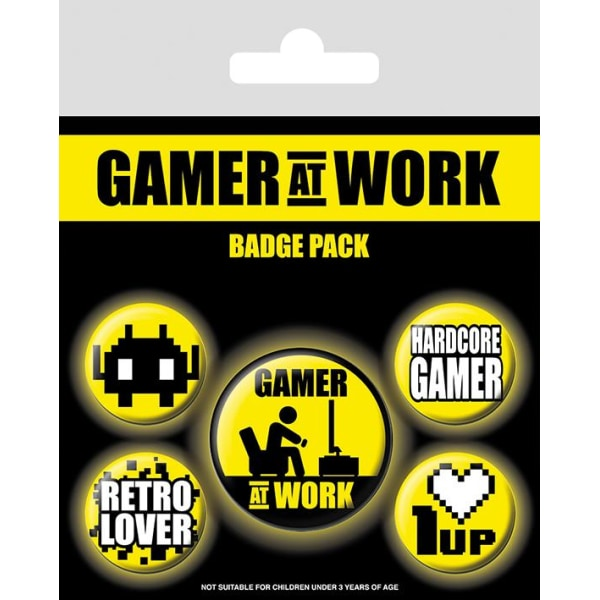 Knappsats - Badge Pack - Gamer At Work (Collectables) MultiColor