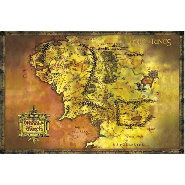 Lord of the rings - Classic map - Sagan om ringen MultiColor