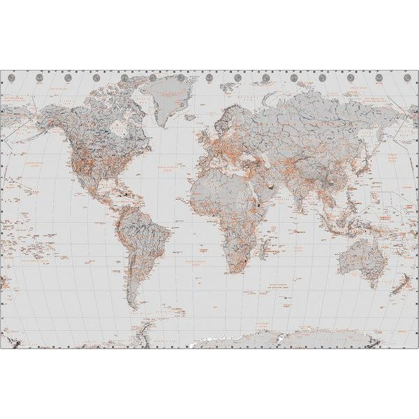 Världskarta - Silver / Orange - World map MultiColor