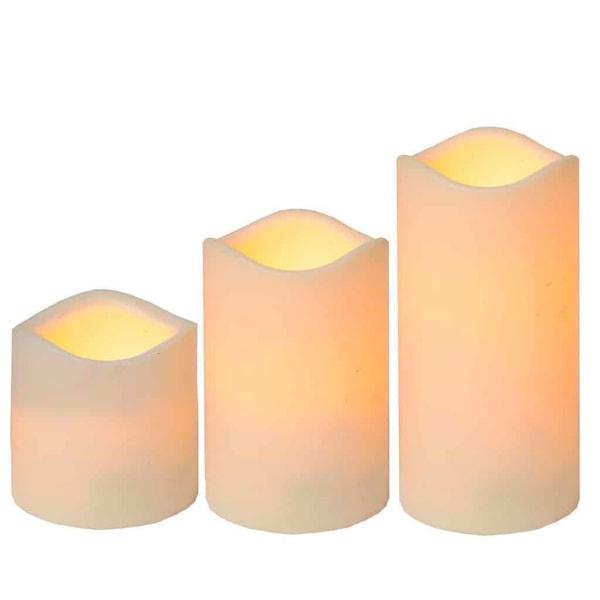 3-pack batteristyrda ljus i plast frostad yta med timer