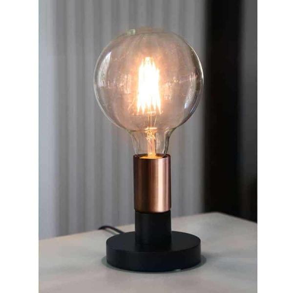DUO lampfot i trä svart med kopparfärgad lamphållare E27