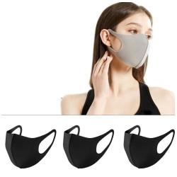 Tvättbart Munskydd Ansiktsmask  Mask 3-pack SVART