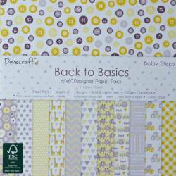 12 papper Dovecraft - Back to Basics - Baby Steps - 15 X 15 cm.