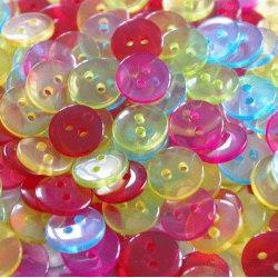 Halvtransparenta små knappar - 100 stycken