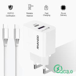 snabb väggladdare - USB-C PD, USB-A - 18W med Type-C kabel