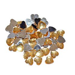 100 st Glänsande Hjärtan  6 mm Guld