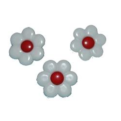 6st  Supersöta knappar  Blommor  Vita/Röda White 6 st