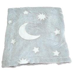Filt, Måne och stjärnor 100*80 cm grå