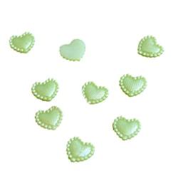 Perliserade hjärtan - Ljusgröna 100st LightGreen