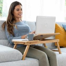 Hopfällbart Bord - Laptopbord Av Bambu