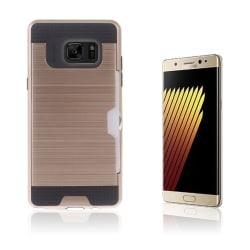 2-i-1 Skal med Kortfack för Samsung Galaxy Note 7 - Rosa Gul