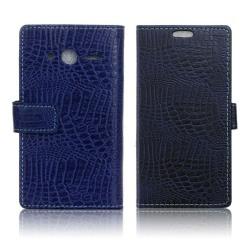 Alcatel OneTouch Pixi 4 (4) krokodil textur fodral - Mörkblå