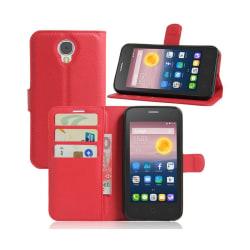 Alcatel Pixi 4 (5) 3G litchi läderfodral - Röd
