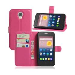 Alcatel Pixi 4 (5) 3G litchi läderfodral - Varm rosa