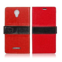 Alcatel Pixi 4 (5) 3G plånbok läderfodral - Röd