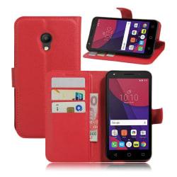 Alcatel Pixi 4 (5) 4G Vikbart läder fodral - Röd